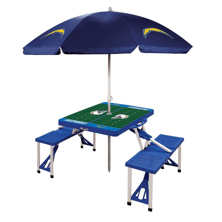 NFL Los Angeles Chargers Picnic Time Picnic Table Sport with Umbrella - Blue