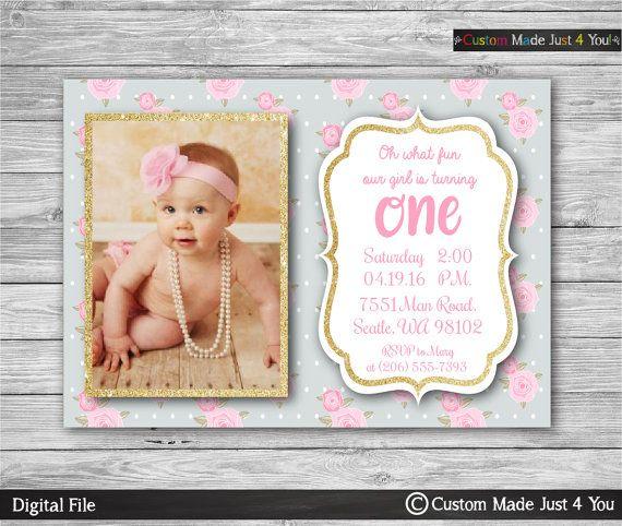 1st Birthday gold Invitation Shabby Chic by CustomMadeJust4You
