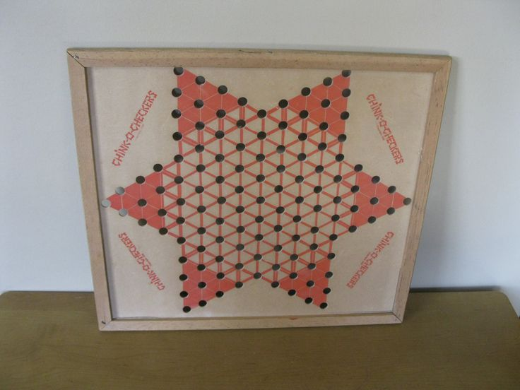 "Vintage Chinese Checkers game board -cardboard - ""Chink o Checkers"" -1938 -Brown Mfg Co- Clinton MO- wood frame  checkerboard - wall by oakiesclaptrap on Etsy"