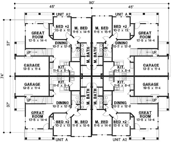 plan 18511wb 8 unit house plan with corner decks - Housing Plans