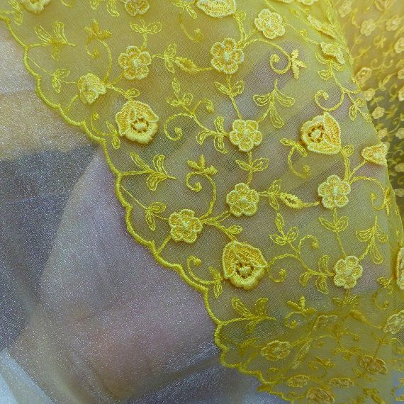 yellow lace fabric 3d flowers embroidery tulle by BodikianTextiles