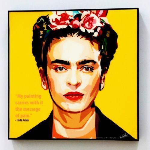 Frida Kahlo Lona cotizaciones de pared Calcomanías Foto Pintura Enmarcada Pop Art Poster