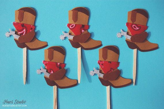 Cowboy Boots with Red Bandanas Cupcake Toppers - Custom 3D Paper Party Decoration (Set of 12)