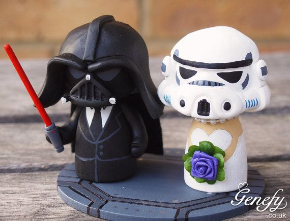 Hey, I found this really awesome Etsy listing at https://www.etsy.com/listing/169521181/cute-wedding-cake-topper-darth-groom-and