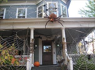 halloween spiders on the house