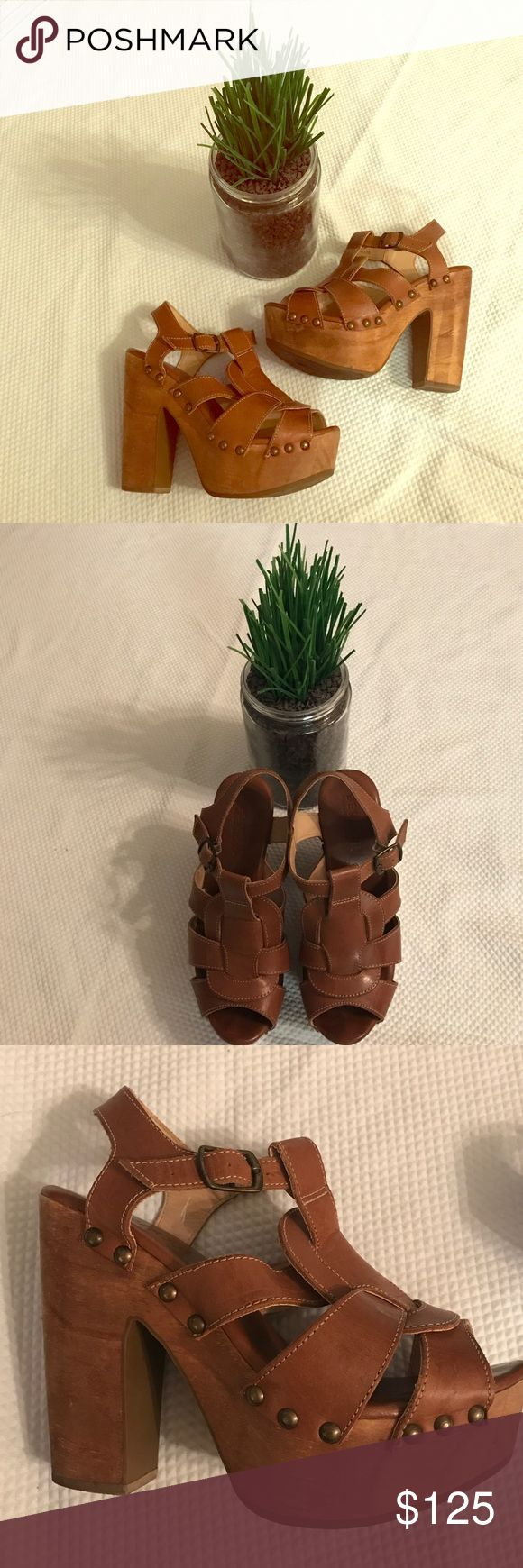 """🌺BED STU Bed Stu platforms in a rich brown leather with white stitching. Super comfortable shoes with a edge.  Heel height is 5 """" Bed Stu Shoes Platforms"""