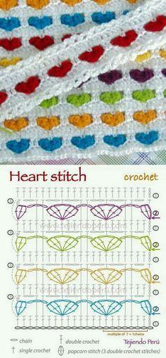 Crochet heart stitch