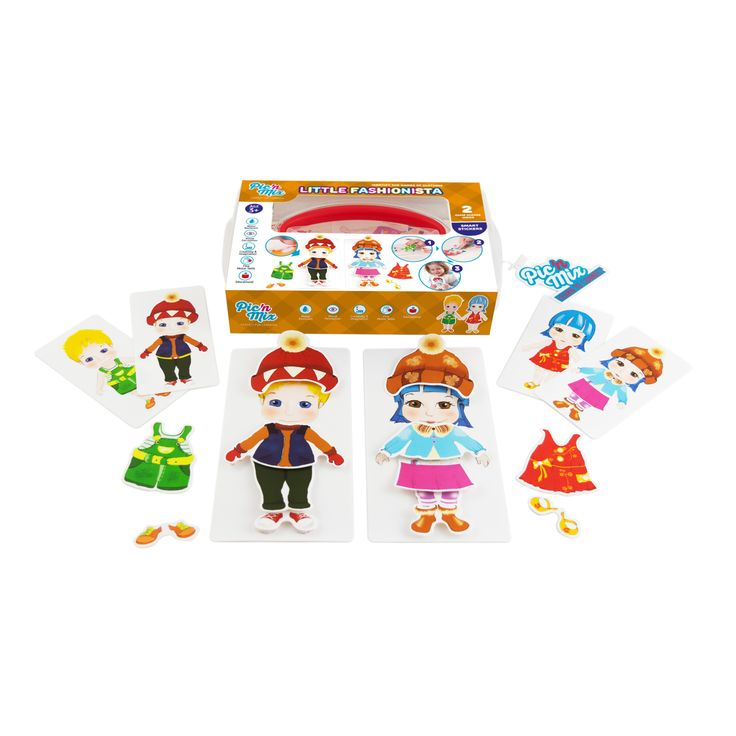 """Picnmix """"Little Fashionista"""" educational toy game includes  1 boy and 1 girl model, 8 card guides, and 23  re-stickable Velcro backed pieces"""