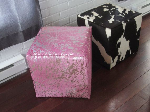 Unique Pink Genuine Hair On Cowhide Pouf Footstool Ottoman Cube Dyed Pink  With Silver Leaf Spots   FREE Shipping In Canada And Usa