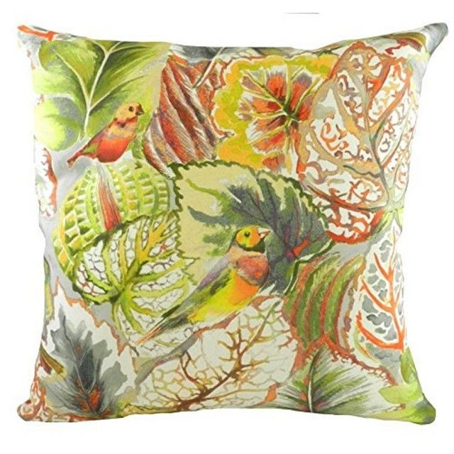 Pebble Tropical Lovebirds Design Filled Cushion by Evans Lichfield