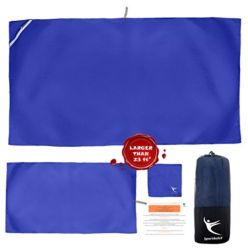 PREMIUM CAMPING TOWEL, Set of 3 Microfiber Towels for Gym, Pool, Travel, Sports, Beach, FREE Mesh Bag, Quick Dry, Compact, Super Absorbent and Lightweight (code is valid for blue only)