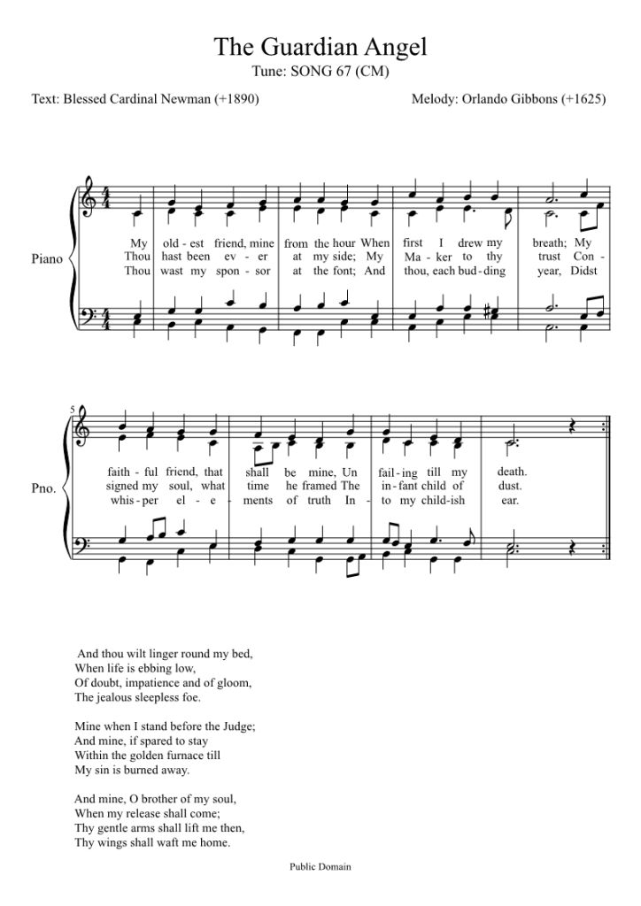 The sheet music for The Guardian Angel Hymn by Blessed John Henry Newmann - from Traditional Catholic Living