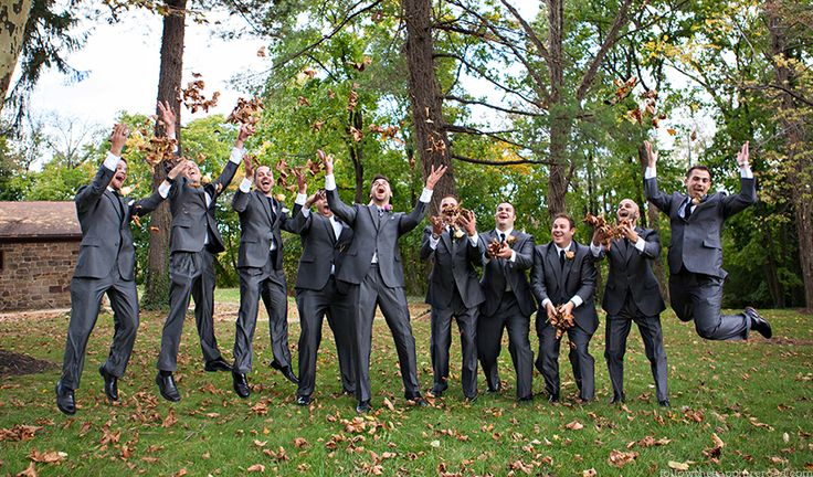 Follow the Sapphire Road – Rustic Wedding, Vintage Wedding, Fall Wedding, Groom Style, Gray Groomsmen Suits, Large Bridal Party, Funny Groomsmen Photos