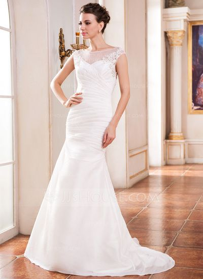 Trumpet/Mermaid Scoop Neck Sweep Train Taffeta Tulle Wedding Dress With Ruffle Beading Appliques Lace Sequins (002042293)