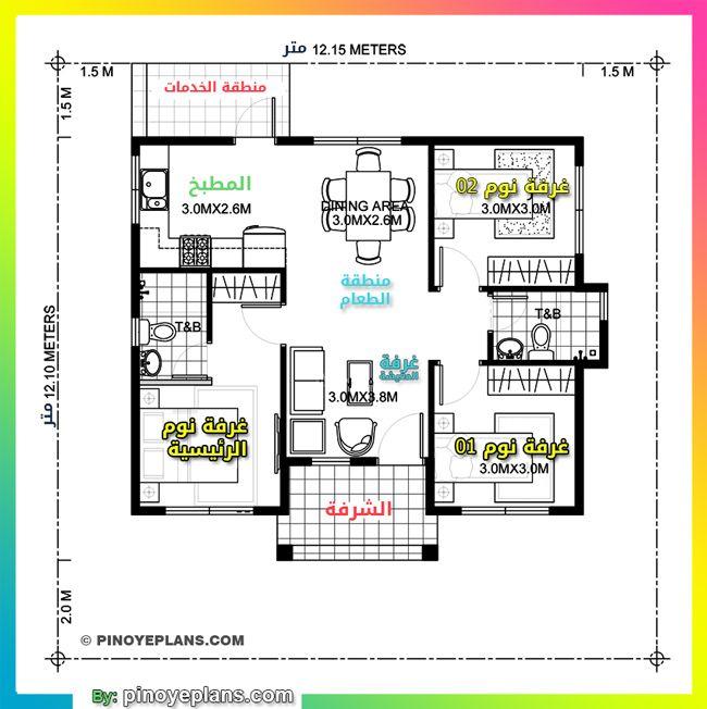 تصميم منزل دور واحد صغير المساحة Single Storey House Plans House Plans Floor Plans