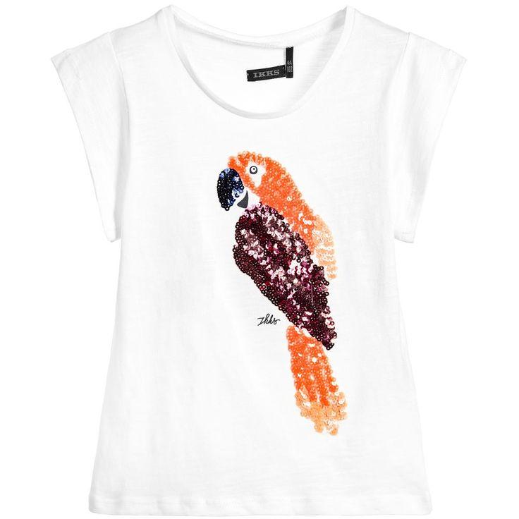IKKS Girls White Sequin Parrot T-Shirt  at Childrensalon.com