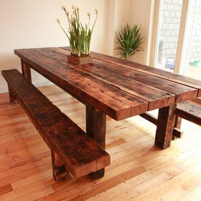 custom farmhouse dining table and benches for custom made by left to right - Wooden Dining Room Chairs