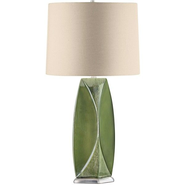 Nova Wings Jade Green Ceramic Table Lamp ($345) ❤ liked on Polyvore featuring home, lighting, table lamps, green, green shades, nova table lamps, green lamp, modern lamps and green table lamp