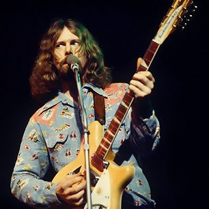 """Roger McGuinn's sparkling, chordal 12-string Rickenbacker riffs on the Byrds' early hits were the sonic bridge between folk and rock–and an irreplaceable color in rock's palette: Every indie band who's more interested in beatific strumming than screaming solos owes him a debt (the striking break in """"Bells of Rhymney"""" could be on a Smiths record). McGuinn could do a lot more than chime, however, as demonstrated by his still-astonishing psychedelic-raga-Coltrane licks on """"Eight Miles High."""""""