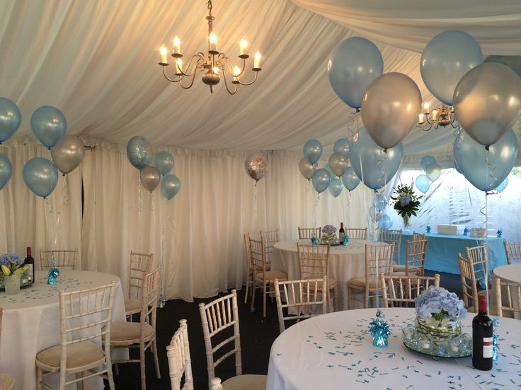 Complementary floor and table balloon decorations all ready for the Christening of a lovely baby boy.
