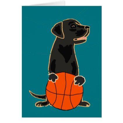 #Funny Labrador Retriever Playing Basketball Card - #labrador #retriever #puppy #labradors #dog #dogs #pet #pets