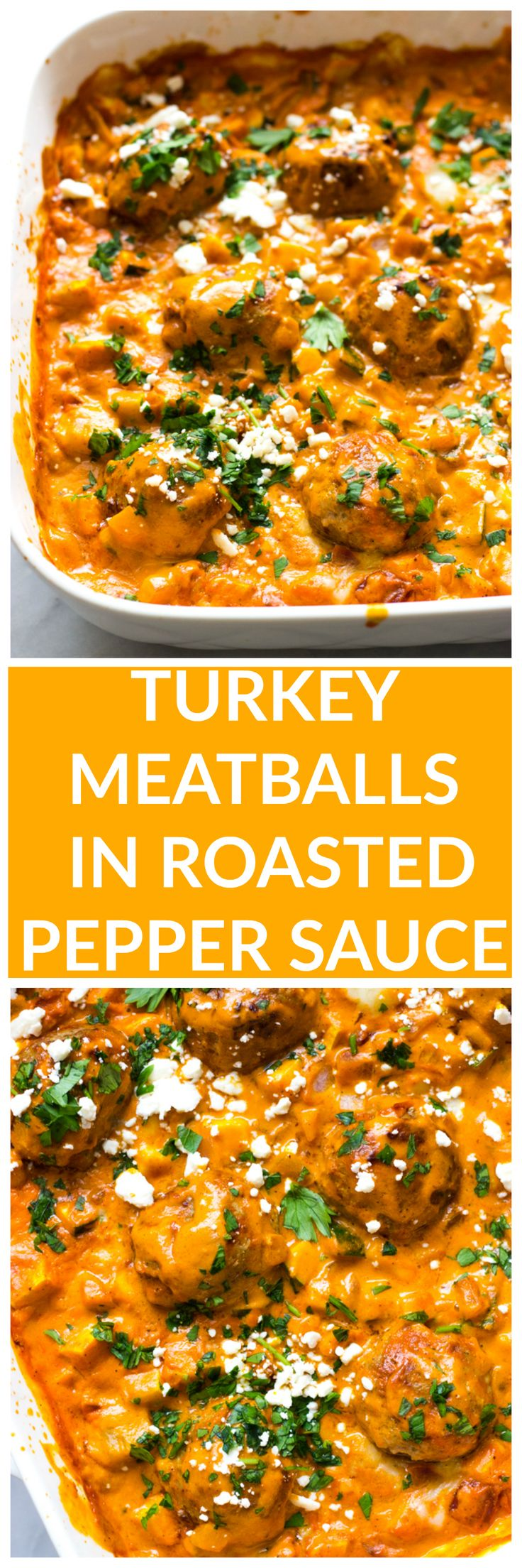 Turkey Meatballs in Roasted Pepper Sauce - made with no cream or cheese, this roasted pepper sauce is made with cashews then baked with healthy turkey meatballs and simple veggie hash | littlebroken.com @littlebroken @shadybrookfarms #tryturkey #sponsored