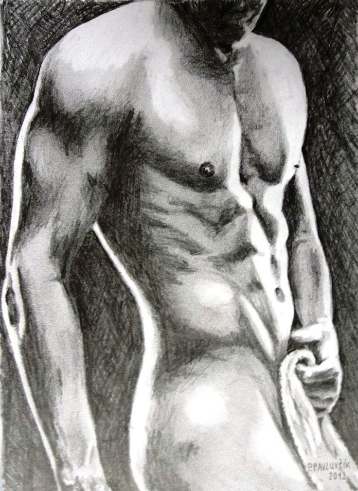 figure drawing,  nude man by Peter Pavluvcik.
