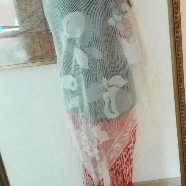 NEW! • Big Polish White Lace Shawl with Fringes •