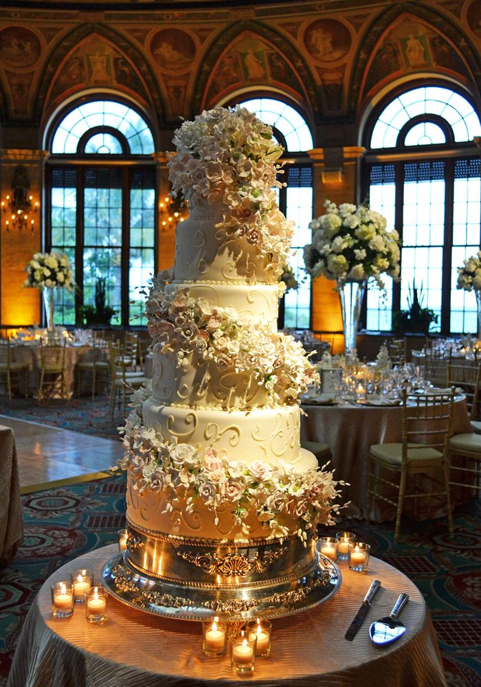 40 Wedding Cake Designs with Elaborate Fondant Flowers - MODwedding
