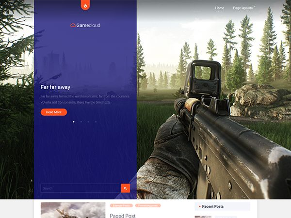 A perfectly designed game WordPress theme is highly recommended for those who is going to build a website for publishing annonces of a legendary games. Real-time strategy or 3D shooter games will be perfectly looking on a full width slider. One of the menus appears on click and doesn't take place at all. This saved place is advantageously used for a logotype and search box.