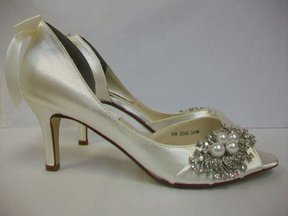 Wonderful Wedding Shoes   Custom Embellished Shoes   Bespoke Shoes   Pearl And  Crystal   Dyeable Shoes