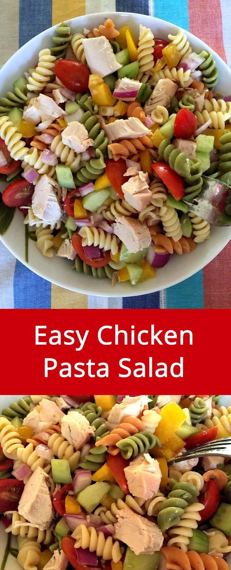 Chicken Pasta Salad Recipe - Awesome Main Dish Pasta Salad, Makes Complete Dinner! | MelanieCooks.com