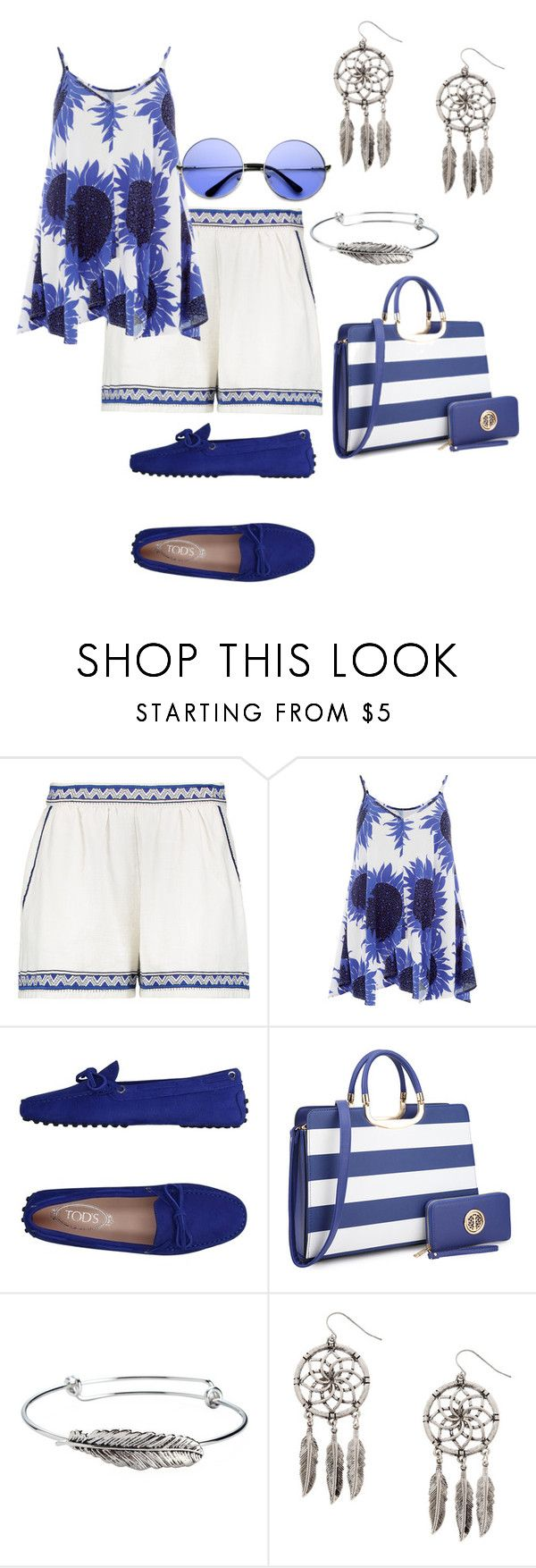 """""""Song Sung Blue"""" by jfcheney ❤ liked on Polyvore featuring Maje, Warehouse, Tod's and ZeroUV"""