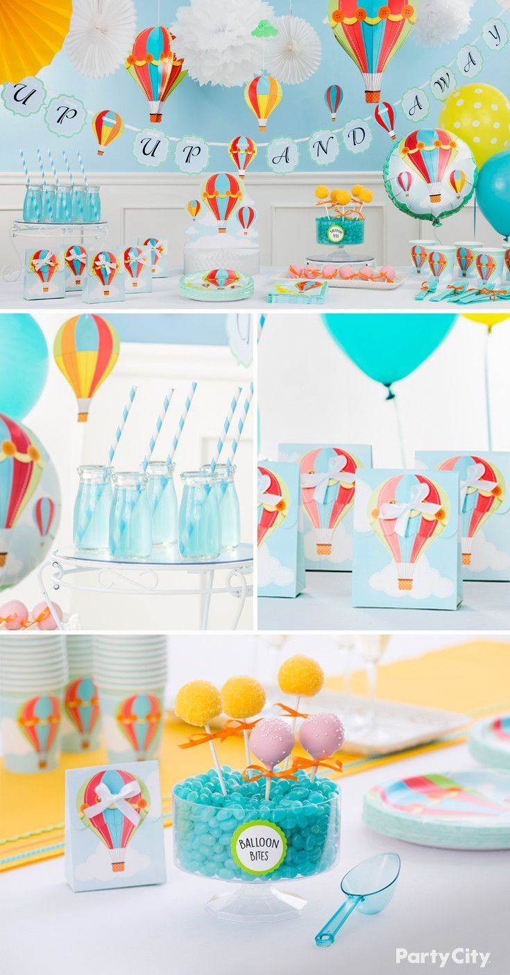 Get Whisked Away With This Charming Hot Air Balloon Pattern Perfect For Celebrating The Hot Air Balloon Baby Shower Baby Boy Shower Party Hot Air Balloon Party