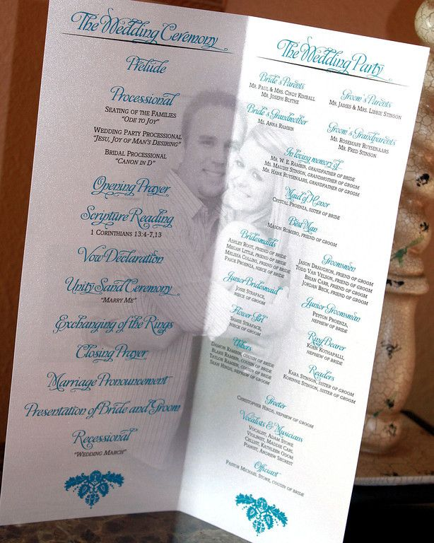 Wedding program -- love the washed out photo idea!