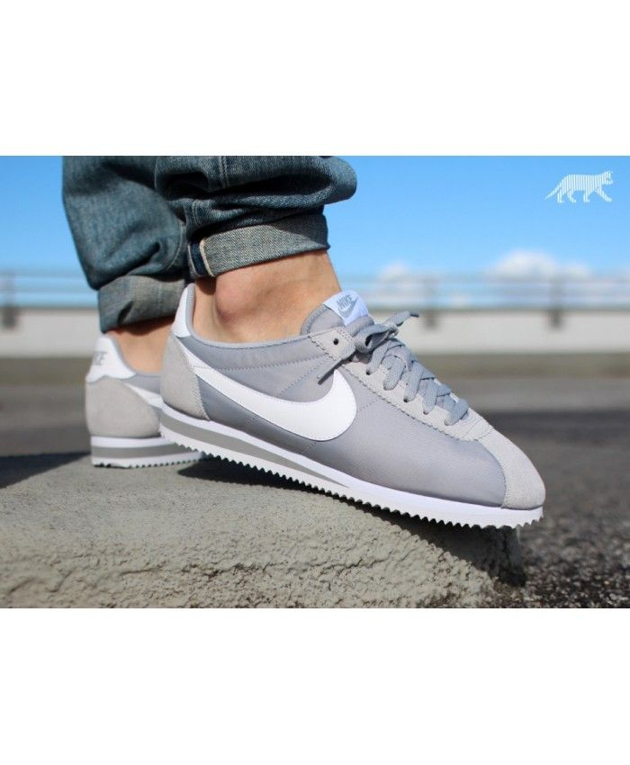 new concept ee214 13e9f Nike Classic Cortez Nylon Wolf Grey White Trainers