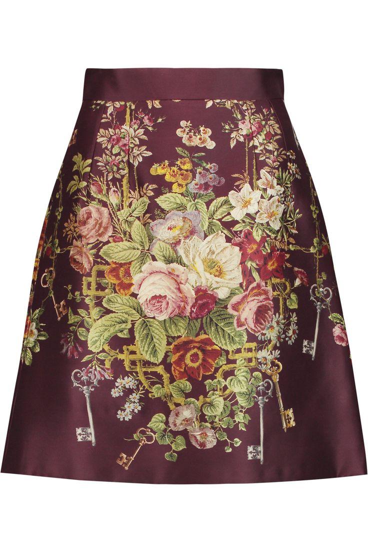DOLCE & GABBANA Printed Silk And Wool-Blend Satin Mini Skirt. #dolcegabbana #cloth #skirt