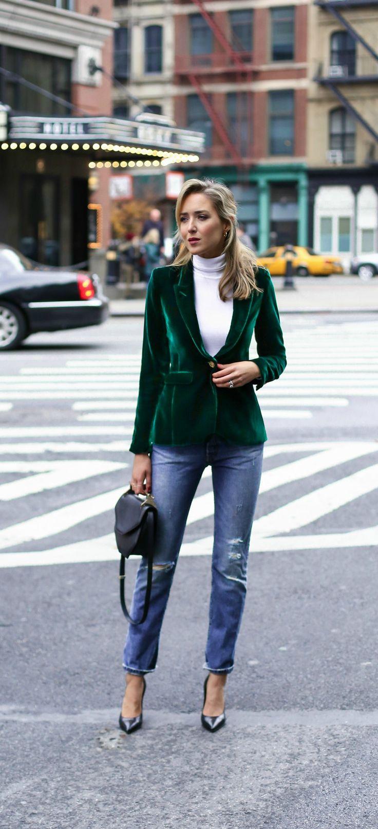 green velvet blazer, classic white turtleneck, distressed boyfriend jeans, timeless pointy toe heels, black and gold braid belt, rhinestone satin ribbon hair bow barrette