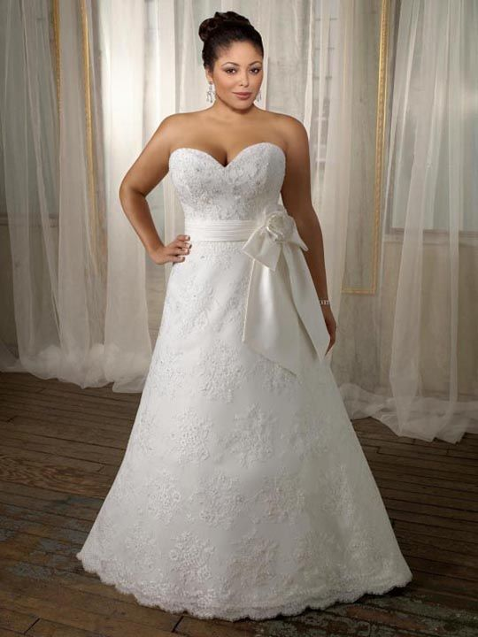 beautiful silhouette, neckline and sash, and lace/fabric - plus size #wedding dress