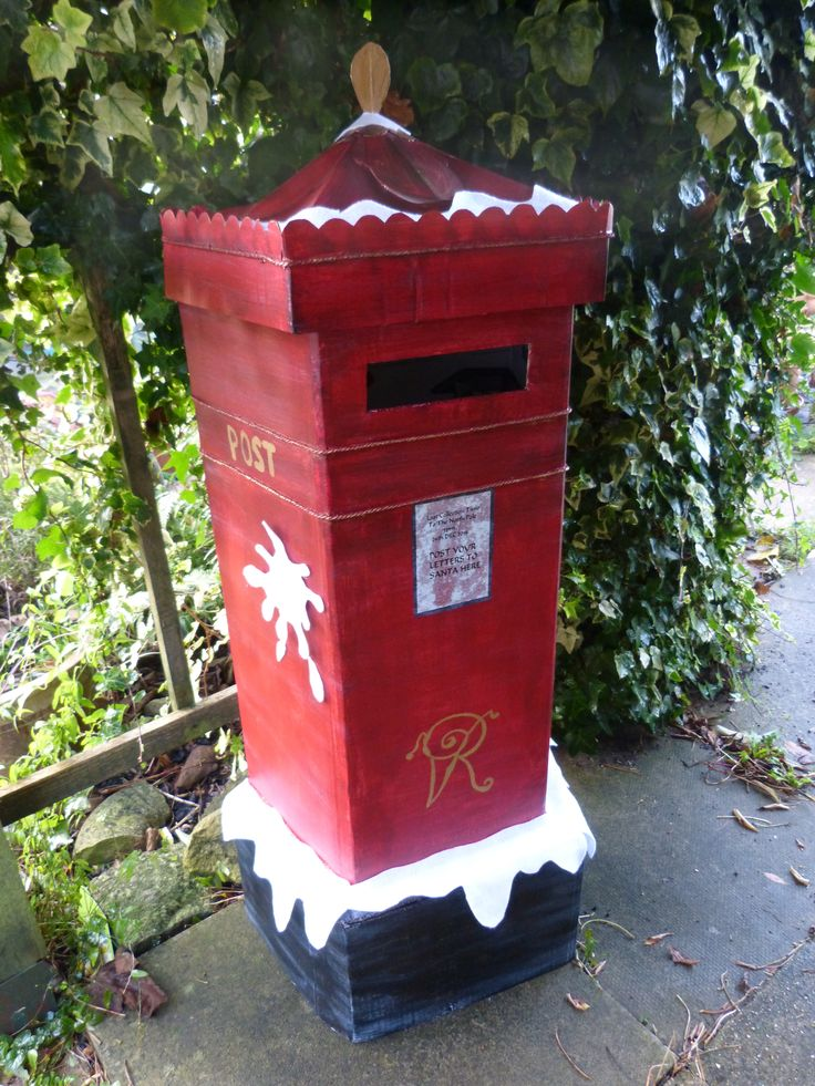 christmas cardboard hand painted  victorian post letter  box for santa xmas 2014