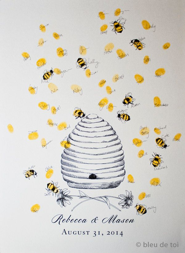 Honey+Bee+Hive+with+thumbprint+bees+Guest+book+by+bleudetoi,+$26.00