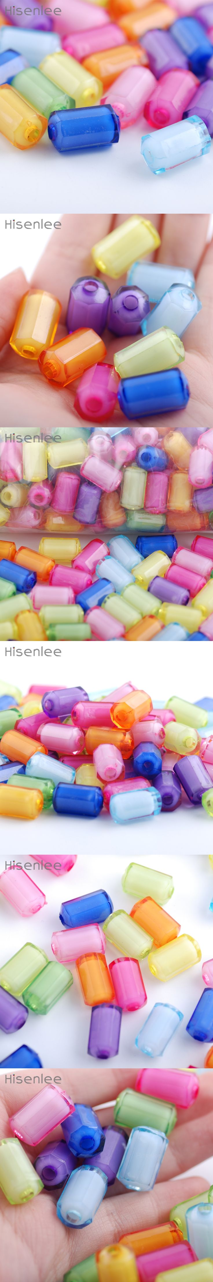 Hisenlee 12MM 20MM Multicolor DIY Hand Catenary Pendant Material Acrylic Cylindrical Bead in Beads BR10006