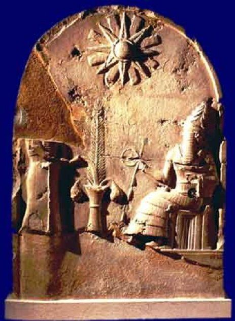 Shamash: Babylonian Sun god ~~ Jehovah condemned Babylon for it's Astrology, worship of the sun, moon and stars and for it's demonic rites.