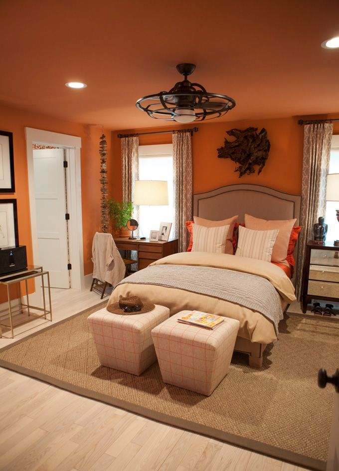 orange wall lights - Brown And Orange Bedroom Ideas