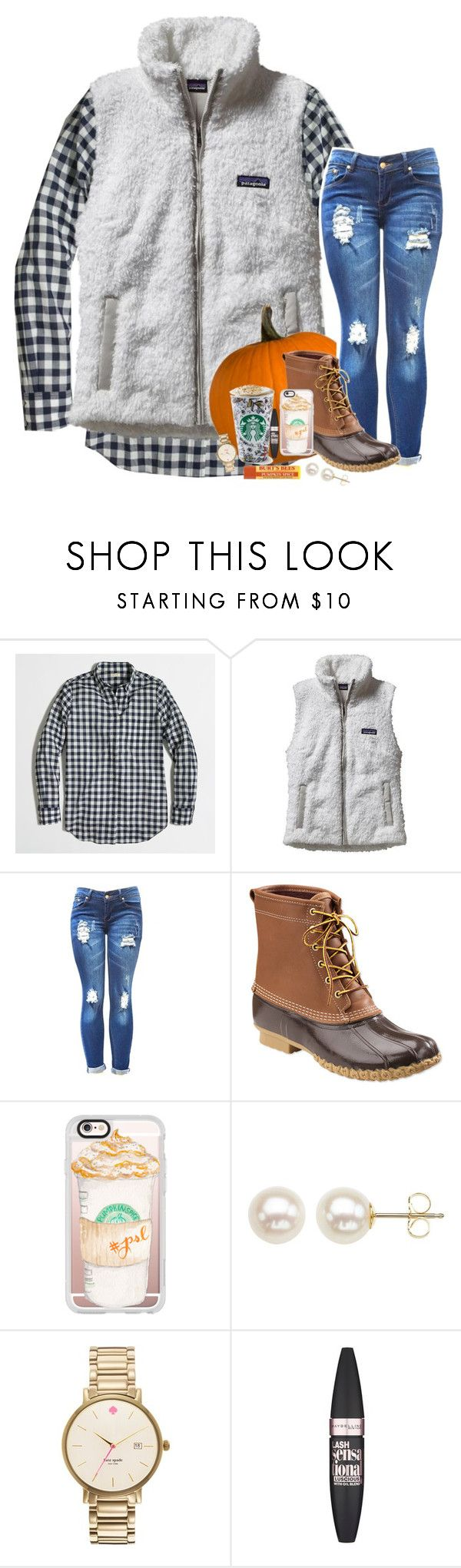 """""""First day of fall!! """" by kat-attack ❤ liked on Polyvore featuring J.Crew, Patagonia, L.L.Bean, Casetify, Honora, Kate Spade and Maybelline"""
