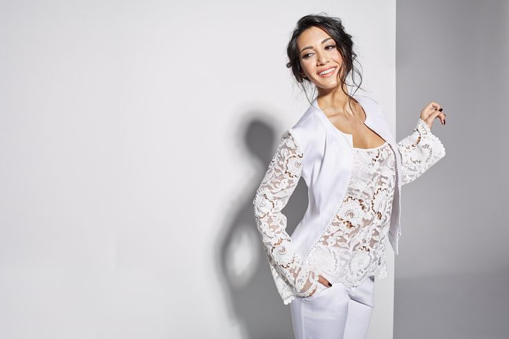 White lace jacket with lace top