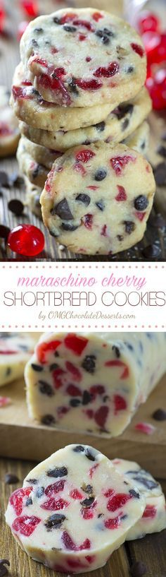 Christmas Maraschino Cherry Shortbread Cookies - OMG Chocolate Desserts