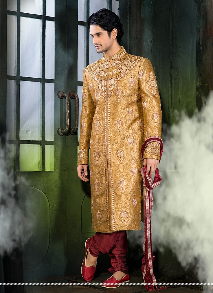 I like yellow wedding wear sherwani collection.  #Wholesale #Bulk #Designer #Fancy