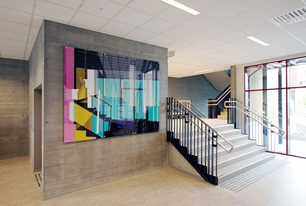Marius Dahl and Jan Christensen Reversed Parallax Views (1-3), 2015 Digital prints, laminated glass and steel plugs. 190 x 240 cm. Installation view: Brundalen skole, Trondheim, Norway #mariusdahl #janchristensen #brundalen #brundalenskole #glassworks