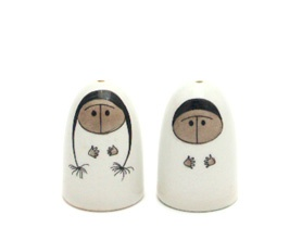 Arabia Finland vintage eskimo salt and pepper shakers by Esteri Tomula.
